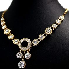 Polished Round Crystal with Gift Box Earring Plating Tassel Necklace Set NS2339A