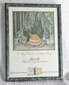 1925 Framed Jell-O Ad Wall Art Marion Powers Art Ladies | Etsy Rare Crystal, Photo Album Scrapbooking, Vintage Picture Frames, Cute Packaging, Handmade Items, Handmade Gifts, Winter Scenes, Vintage Advertisements, Frame Gallery