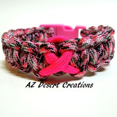 Breast Cancer Awareness Survival Bracelet in Pink Camo Parachute Cord | DesertCreations - Jewelry on ArtFire