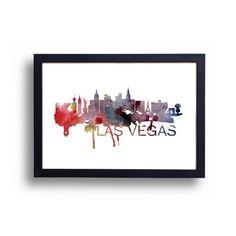 Las Vegas Skyline Watercolor Art Print by DreamMachinePrints