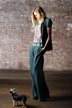 PENCEY. Shawl Vest in Matte Green Ocean T in Print Pleat Pant in Matte Green
