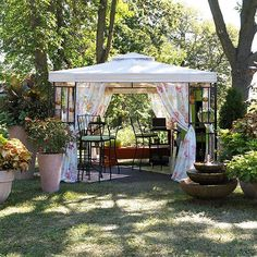 Do you have a wedding, graduation, or family reunion on the calendar? If so, you might want to consider adding a pavilion to your backyard. Available at many garden centers and home stores, pavilions are easy to install and will quickly transform a backyard into a romantic hideaway or crowd-pleasing entertainment area. Once erected, the pavillion can be left in place, removing only the fabric when the season comes to a close./
