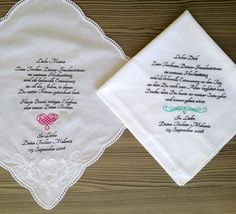 Set of Two  Personalised wedding handkerchief by PromiseForever