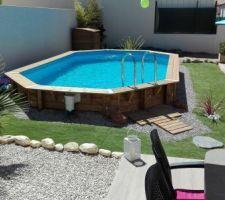 amenagement du jardin avec piscine bois semi enterree - Amenagement Piscine Bois Hors Sol