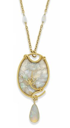 An Art Nouveau glass and opal pendant, by René Lalique. Photo Christie's Image Ltd oval glass panel with engraved floral detailing and applied carved opal flowerheads raised on a sinu… Lalique Jewelry, Opal Jewelry, Jewelry Art, Vintage Jewelry, Fine Jewelry, Jewelry Design, Opal Necklace, Pendant Necklace, Bijoux Art Nouveau