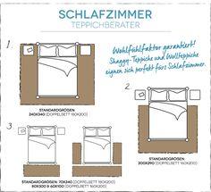 Wie bestimme ich die richtige Teppichgröße für das Schlafzimmer? |  How do I determine the right rug size for my bedroom?