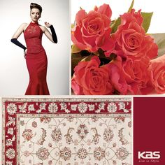 """Put some high fashion underfoot with the Avalon Ivory/Red Mahal #rug. And, remember to REPIN, LIKE, andåÊTAG A FRIEND onåÊour #Christmas #Giveaway post (pinned to our """"FREE GIVEAWAY"""" board) for a chance to win a #FREE #rug! http://www.kasrugs.com/product/details/AVA56132X77RU 
