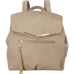 T-shirt & Jeans Diagonal Flap Back Pack Backpack Handbag (€20) ❤ liked on Polyvore featuring bags, backpacks, handbags, manmade handbags, tan, knapsack bags, brown backpack, flap backpack, fake bags and backpacks bags