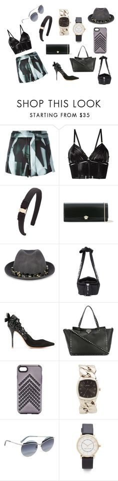 """Blackcredable"" by racheal-taylor on Polyvore featuring Ann Demeulemeester, Bordelle, Salvatore Ferragamo, Versace, Le Chapeau by Alakazia, Moschino, Sophia Webster, Valentino, Rebecca Minkoff and DKNY"