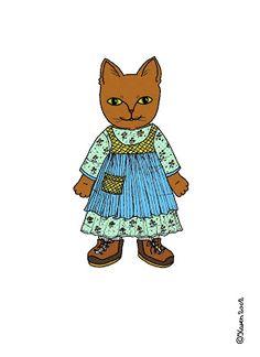 Karen`s Paper Dolls: Buster and Missepigen 1-2 Paper Dolls in Colours. Buster og Missepigen 1-2 påklædningsdukker i farver.