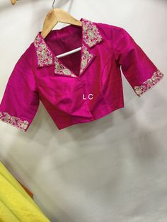 trendy Ideas for embroidery blouse designs latest Saree Blouse Neck Designs, Sari Blouse Designs, Fancy Blouse Designs, Designer Blouse Patterns, Bridal Blouse Designs, Stylish Blouse Design, Collor, Shirts, Lehenga