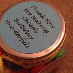 Party favor filled with M's! babyfood jars