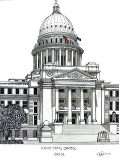 Idaho State Capitol building in Boise.  More info at http://frederic-kohli.artistwebsites.com.
