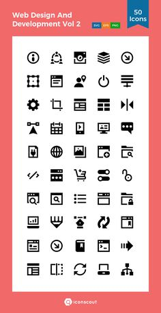 Web Design And Development Vol 2  Icon Pack - 50 Solid Icons