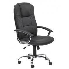 Black Hiqh Back Leather Exec Chair by Alphason Office - Cow Split leather & chrome executive chair •Fully reclining tilt mechanism adjustable for individual body weight. •Contemporary chrome armrests with leather pads for additional user comfort •Complimenting polished chrome base. •Pronounced lumber & headrest support •Gas lift stress load tested to 154kg / 25 stones