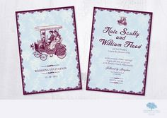 Wedding Invitation - A5 Double sided vintage style
