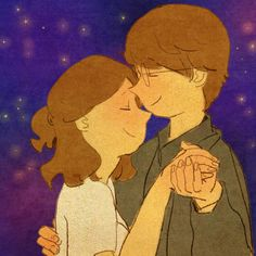 """""""He doesn't like to dance but even so, we turn some romantic music ON and he begins to move slowly with me. Love Is Sweet, What Is Love, Cute Love, Love Cartoon Couple, Cute Couple Comics, Puuung Love Is, Art Anime, Couple Illustration, Couple Drawings"""