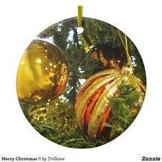 Merry Christmas!! Double-Sided Ceramic Round Christmas Ornament