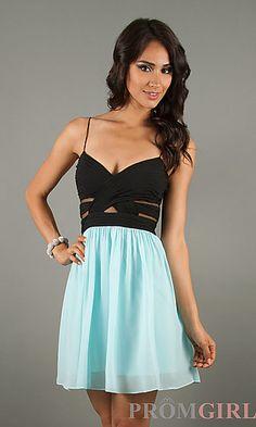 Short Spaghetti Strap Dress at PromGirl.com