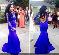 Royal Blue High Neck Prom Dresses With Lace Bateau Long Sleeves Open Back Mermaid Floor Length Evening Gowns Prom Dress Styles Prom Dresses For Plus Size From Hot_sales_dress, $111.26| Dhgate.Com