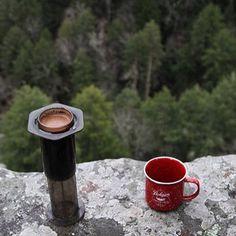Crema filled Aeropress with a view |  TAG your coffee friend! |  Shop NOW  @originalaeropress Link in Bio  by @sean_c_fisher by originalaeropress