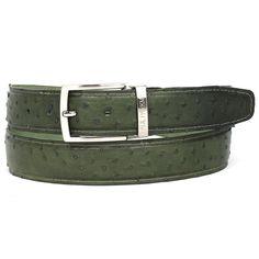 PAUL PARKMAN Men's Green Genuine Ostrich Belt (ID#B04-GREEN)