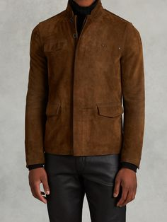 Buy John Varvatos Men's Brown Suede Jacket With Rivet Detail, starting at $599. Similar products also available. SALE now on!
