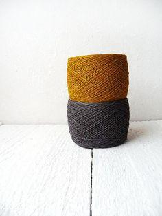 2 balls of natural Linen Yarn for crochet - Mustard gold and dark Grey - golden harvest on Etsy, $14.00