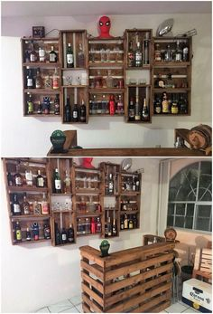 This is much a funky style of the wood pallet amazing wine rack design that is so amazing created by Diy Home Bar, Diy Bar, Bars For Home, Wine Rack Design, Indoor Bar, Pallet Wine, Home Bar Designs, Diy Pallet Projects, Mini Pallet Ideas