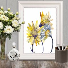 50adaa24e1b Daisy print Daisies printable Yellow and blue home decor Large print  Bedroom wall art Floral watercolor art Yellow flower Canvas DOWNLOAD