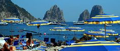 La Fontelina beach club near the Faraglioni rocks in Capri, Italy. Counting down the days! Need to make reservations for chairs/lunch