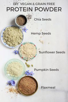 Homemade Vegan Protein Powder {grain free, gluten free, nut free} - These all make great additions to smoothies, too! Homemade Protein Powder, Vegan Protein Powder, Raw Food Recipes, Vegetarian Recipes, Healthy Recipes, Protein Recipes, Protein Foods, Plant Based Protein Powder, Valeur Nutritive