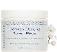 Blemish Control Toner Pads: 2% Glycolic, 2% Salicylic and Tea Tree.  Utilizes purifying active ingredients to relieve breakouts while improving the clarity and quality of the skin