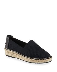 Cole Haan Cloudfeel Stitchlite Espadrille In Black And Natural Fabric Slip On Espadrilles, Cole Haan Shoes, World Of Fashion, Luxury Branding, Neiman Marcus, Wedges, Flats, Heels, Leather