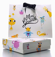 """feedureyes:    Mini Giants is a designer clothing company for children with the slogan """"Big ideas for little people."""".   When I saw this box and bag I was instantly intrigued by the design. I find the logo to work perfectly with the illustrations and the overall feel is fun, cool, and edgy. The logo reminds me of a tattoo and I love how it stands out amongst the illustrated monsters."""