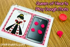 """""""Queen of Hearts"""" Play Dough Counting Mats 1-10 (free; from PreKinders)"""