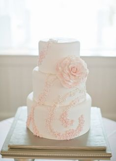 Pretty white and pink flower cake.  No link here, just the pic.  :/