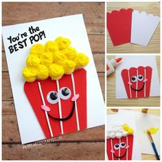 Father& Day You& The Best Pop Popcorn Card is part of Kids Crafts Cards Dads Looking for a quick Father's Day craft for this weekend Today I'm sharing a cute and simple homemade Father's - Diy Father's Day Crafts, Dad Crafts, Daycare Crafts, Father's Day Diy, Toddler Crafts, Preschool Crafts, Preschool Circus, Kids Fathers Day Crafts, Fathers Day Art