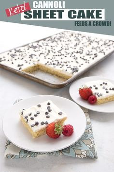 Keto sheet cake for the win! This deliciously tender sugar-free cake has all the great flavors of a traditional cannoli with almost none of the carbs. Easy to make and feeds a crowd! #ketocake #ketobaking #cannolicake #cannolis #sheetcake #sugarfree Keto Desserts, Desserts For A Crowd, Sugar Free Desserts, Keto Recipes, Holiday Desserts, Dessert Recipes, Party Desserts, Healthy Recipes, Vanilla Sheet Cakes