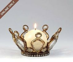 Jeweled Gold Crown Candle Holder