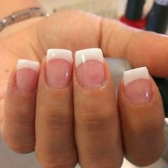 Want some ideas for wedding nail polish designs? This article is a collection of our favorite nail polish designs for your special day. White Tip Acrylic Nails, French Nails Glitter, White French Nails, Short Square Acrylic Nails, French Manicure Nails, Acrylic Nail Designs, Short French Tip Nails, Aycrlic Nails, French Tips