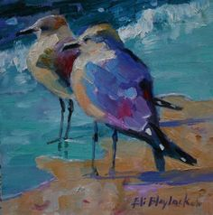 Sea Birds of Florida paintings | OIL PAINTING OF SEA GULLS LOOKING FOR LUNCH, original painting by ...