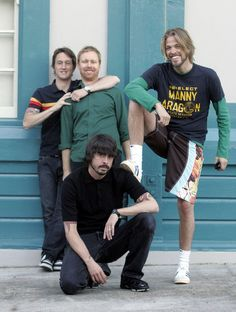 Foo Fighters. Awwww I love their smiles