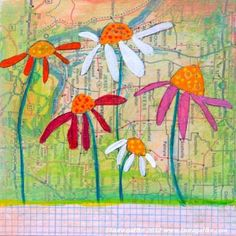 Dancing Daisy ORIGINAL mixed media painting by LauraGaffke on Etsy, $95.00