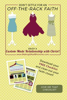 Your relationship with Christ doesn't have to be a one-size-fits-all style.  http://www.lauranaiser.com/custom-made/