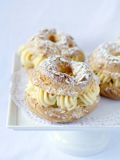 paris-brest. a large ring of pâte à choux filled with a praline-infused pastry cream.