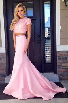 2017 prom dresses,prom dresses,pink prom dresses,mermaid prom dresses,2 pieces prom dresses,sparkling prom dresses,evening dresses,mermaid evening dresses,2 pieces evening dresses,fashion,women fashion,vestidos