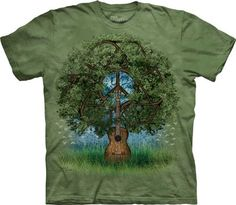 Peace Sign Shirt Tie Dye T-shirt Guitar Tree Adult Tee Peace T-shirts - Basic Peace Sign Available in Small, Medium, Large, XL, & Officially Hippie Peace, Hippie Love, Hippie Music, Tie Dye T Shirts, Tee Shirts, Funny Shirts, Peace Sign Symbol, Tree Graphic, Tee Tree