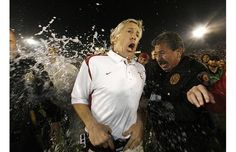 he USC Trojans head coach, Pete Carroll, has water poured on him following his team's victory over the Penn State Nittany Lions in the 95th Rose Bowl Game in Pasadena, California