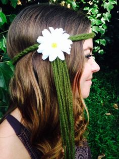 Green Braid Yarn White Daisy Hippy Headband Gypsy by GypsyHalos, $14.00